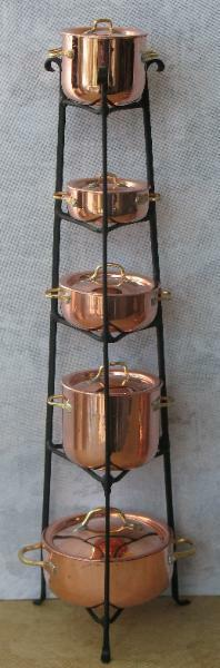 Dollnhaus Miniatur Kupfer Töpfe W   Schwarz Ständer - Künstler Handgefertigtes