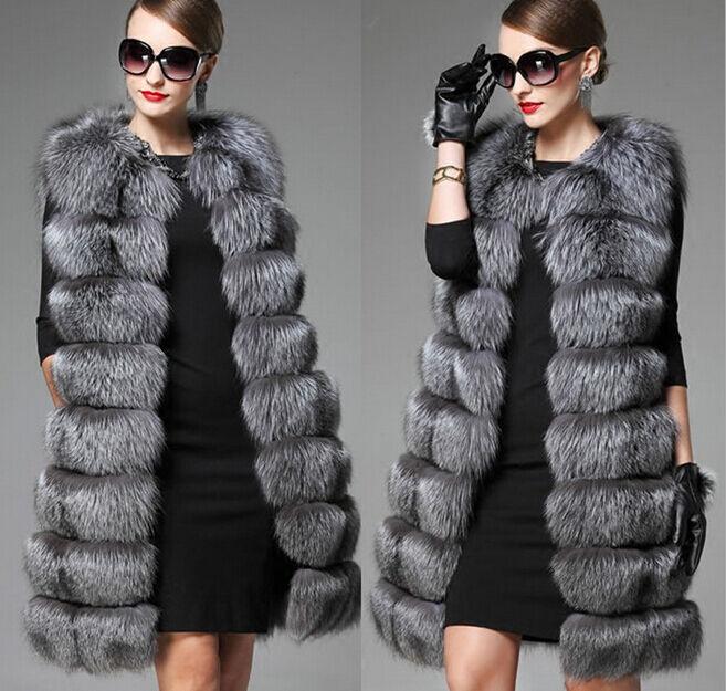 Plus Size Women's Noble Fur Overcoat Parkas Vest Warm Coats Hip Length Outwear