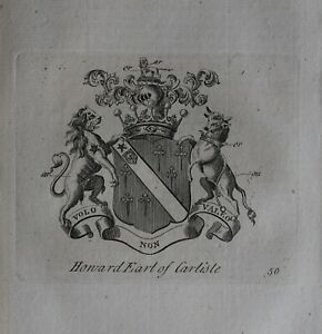 1756 Antiguo Estampado Familia Crest Abrigo De Brazos Howard Conde De