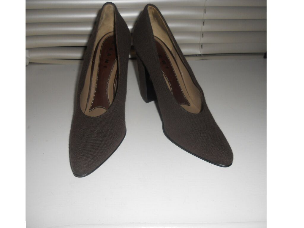 Marni   Art to Wear  Marronee Twill Pumps Heels scarpe  40
