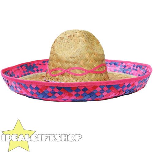 Pink Trim MESSICANO SOMBRERO Cappello di paglia confezione LOTTO all/'ingrosso Costume Occidentale