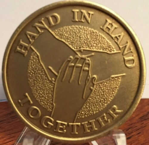 Hand In Hand Together Bronze Medallion Chip Coin Recovery Sobriety Coin