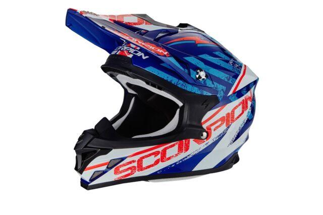Cross ENDURO casco MOTO integrale Scorpion VX-15 EVO Air GAMMA blu BIANCO ->M