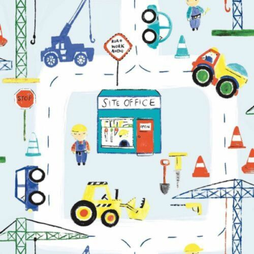Holden Decor Kids Wallpaper Features Road Works Construction Cars Blue//Red 11051