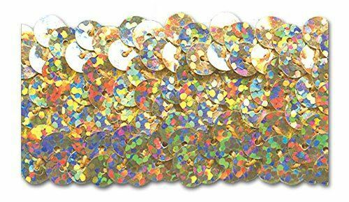 TRIMPLACE GOLD HOLOGRAM 1-1//4 INCH STRETCH SEQUIN 10 Yards