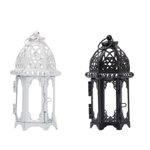 Vintage Moroccan Hanging Glass Iron Art Lantern Tea Light Candle Holder