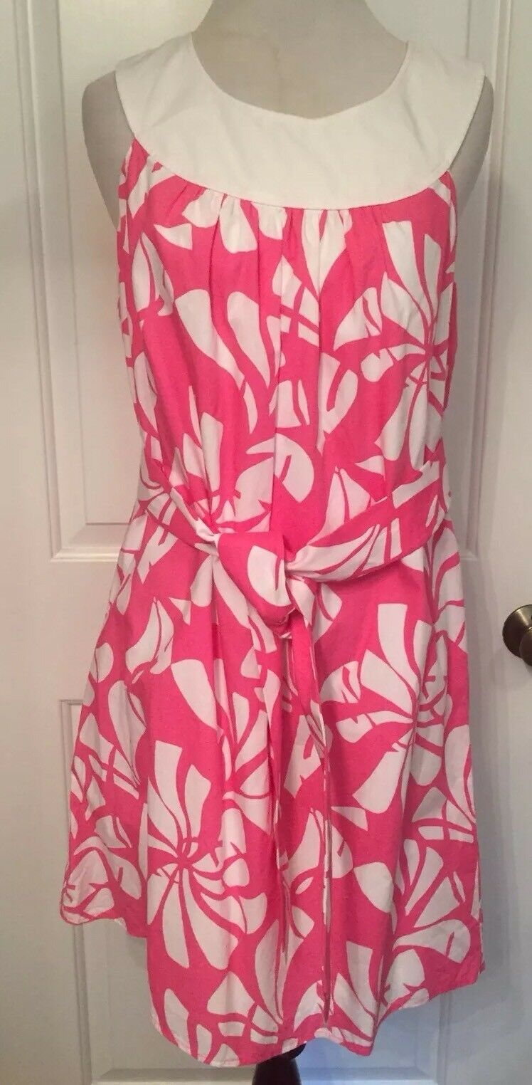 LILLY PULITZER Dress Pink White Floral Sleeveless Shift Trapeze Mini Belt size 4