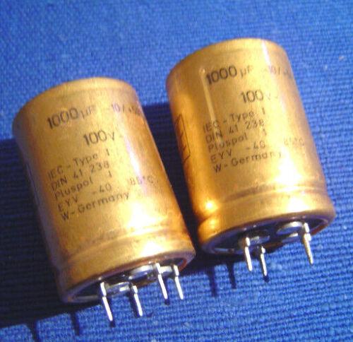 Roederstein ROE EYV Radial 1000uF//100V 85°C NOS