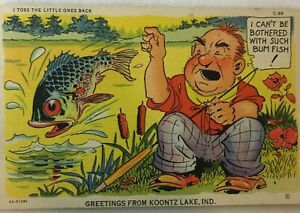 C-T-Fish-Comics-Fisherman-Throw-Back-Shore-Curteich-Mint-Postcard-Posted-1948