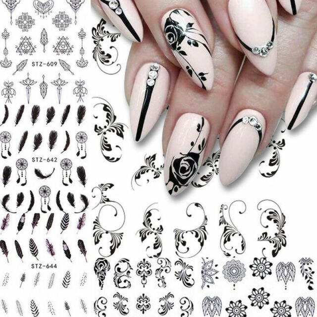 6sheets Diy Nail Water Decals Flower Feather Geometry Nail Art