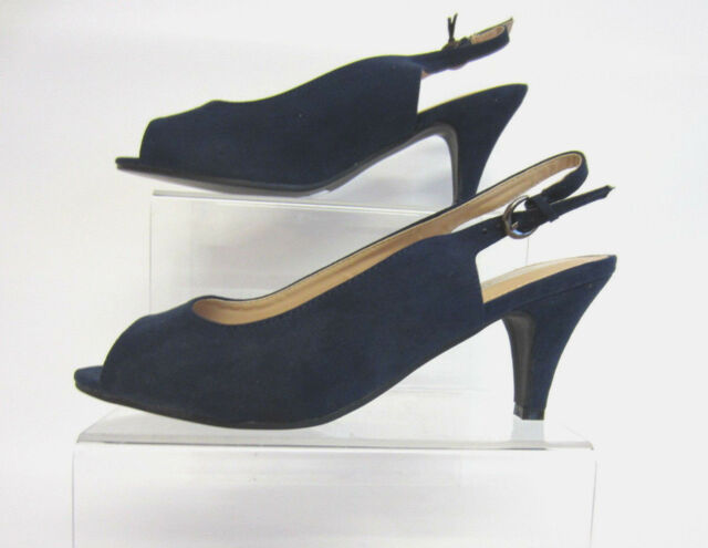 Anne Michelle F1R0593 Ladies Navy Slingback Shoes UK3 to 7 Wide fit (R27A)
