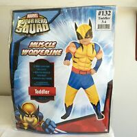 New, Marvel X-men Muscle Wolverine Halloween Toddler Costumes- Toddler Size 3-4