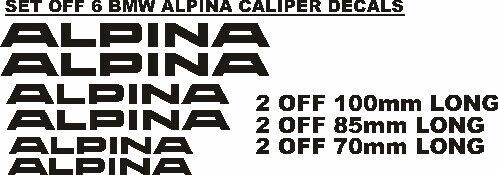 BMW Alpina caliper stickers decals