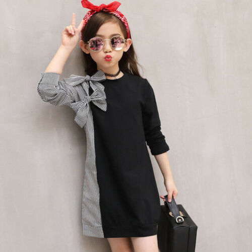 Kids Long Sleeve Autumn Dress Fashion Girls Wear Bow Tie Stitch Striped Clothing
