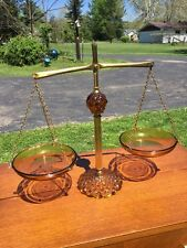 Vtg Brass Amber Glass Balance Scales of Justice Princess House Law Office Decor