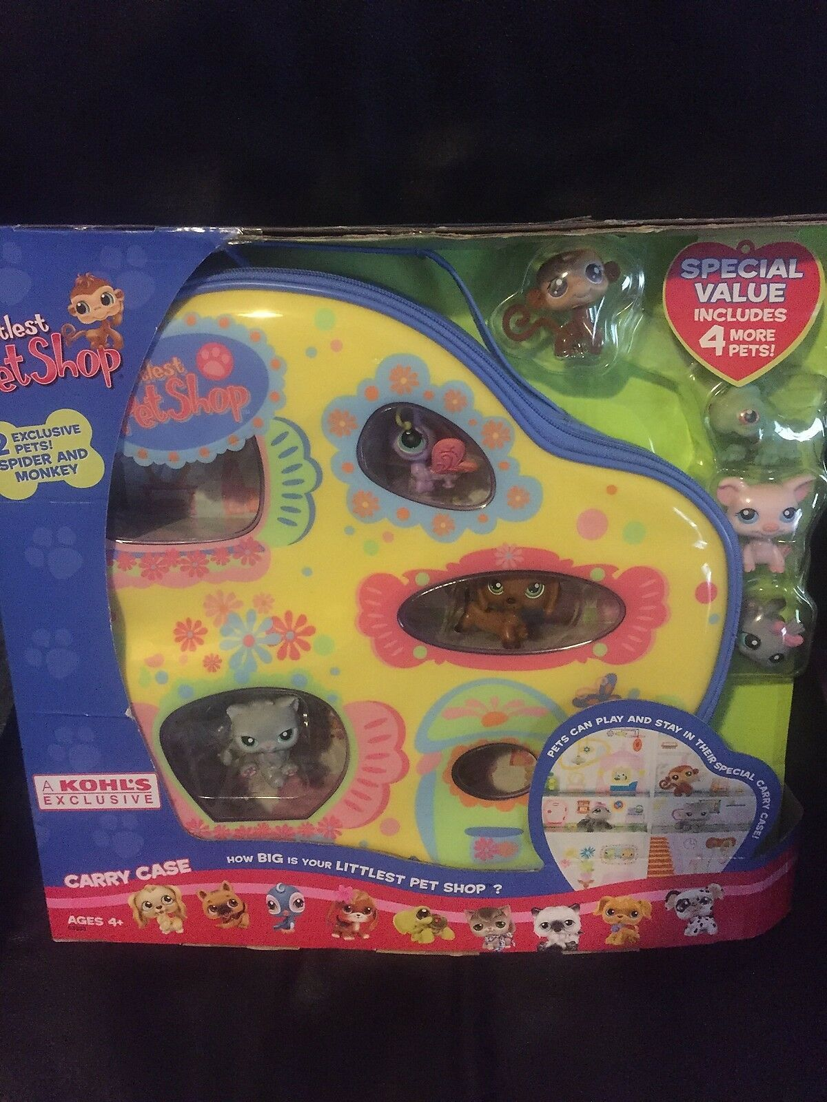 LITTLEST PET SHOP KOHLS exclusive carry case and and and pets monkey pig dachshund more f69586