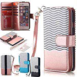 iPhone-7-6s-6-8-Plus-X-Slim-Removable-Magnetic-Flip-Wallet-Leather-Case-Cover