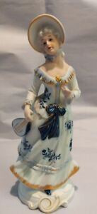 Vintage-Porcelain-Figurine-Young-Girl-with-lute-Unknown-mark-9-inches-high
