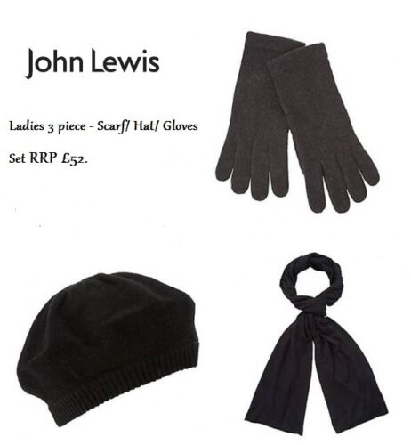 John Lewis Black Knit Wrap Scarf Beret Hat Gloves Set Individual BNWT RRP £52