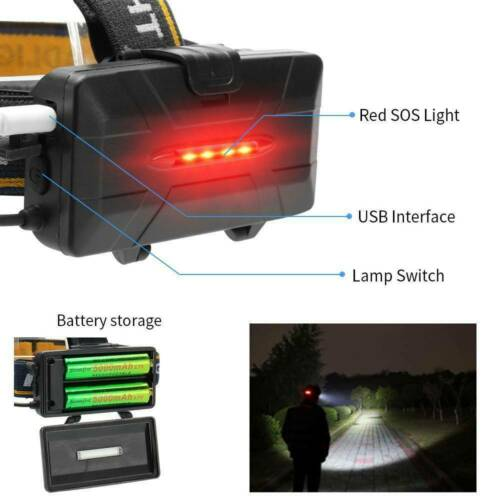 Details about  /350000LM 8 Modes LED Headlamp COB USB Rechargeable Headlight Head Torch ME