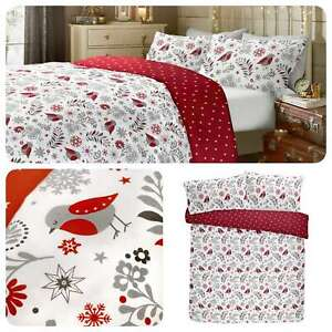 Fusion-Scandi-Christmas-Robin-100-Brushed-Cotton-Xmas-Winter-Duvet-Cover-Set