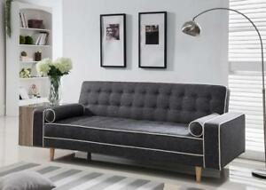 Details about Futon Sofa Bed Sleeper Mid Century Modern Convertible Couch  Living Room Gray New