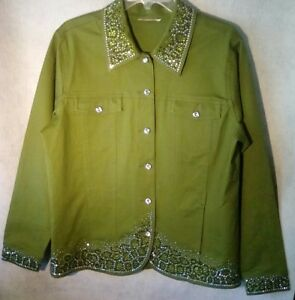 Details about Olive green Bling Spring jacket By Quacker Factory Size Lg