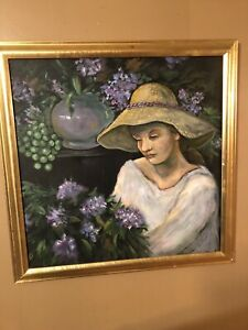 Marie-Weiss-Allentown-Artist-Painting-Unsigned-Framed-27-x27-Flowers-amp-Woman