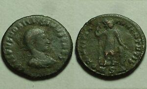 Rare genuine Ancient Roman coin Constantine's son Crispus Soldier spear shield