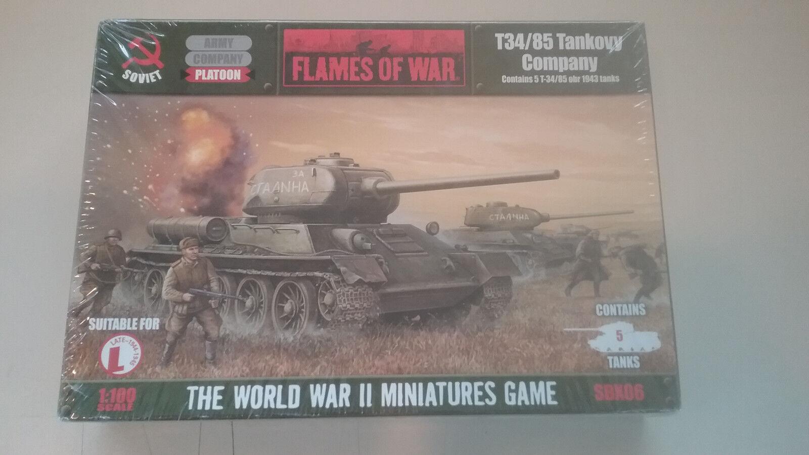 1 100 ( 15mm ) Flames of War Soviet T34 85 Tankovy Company
