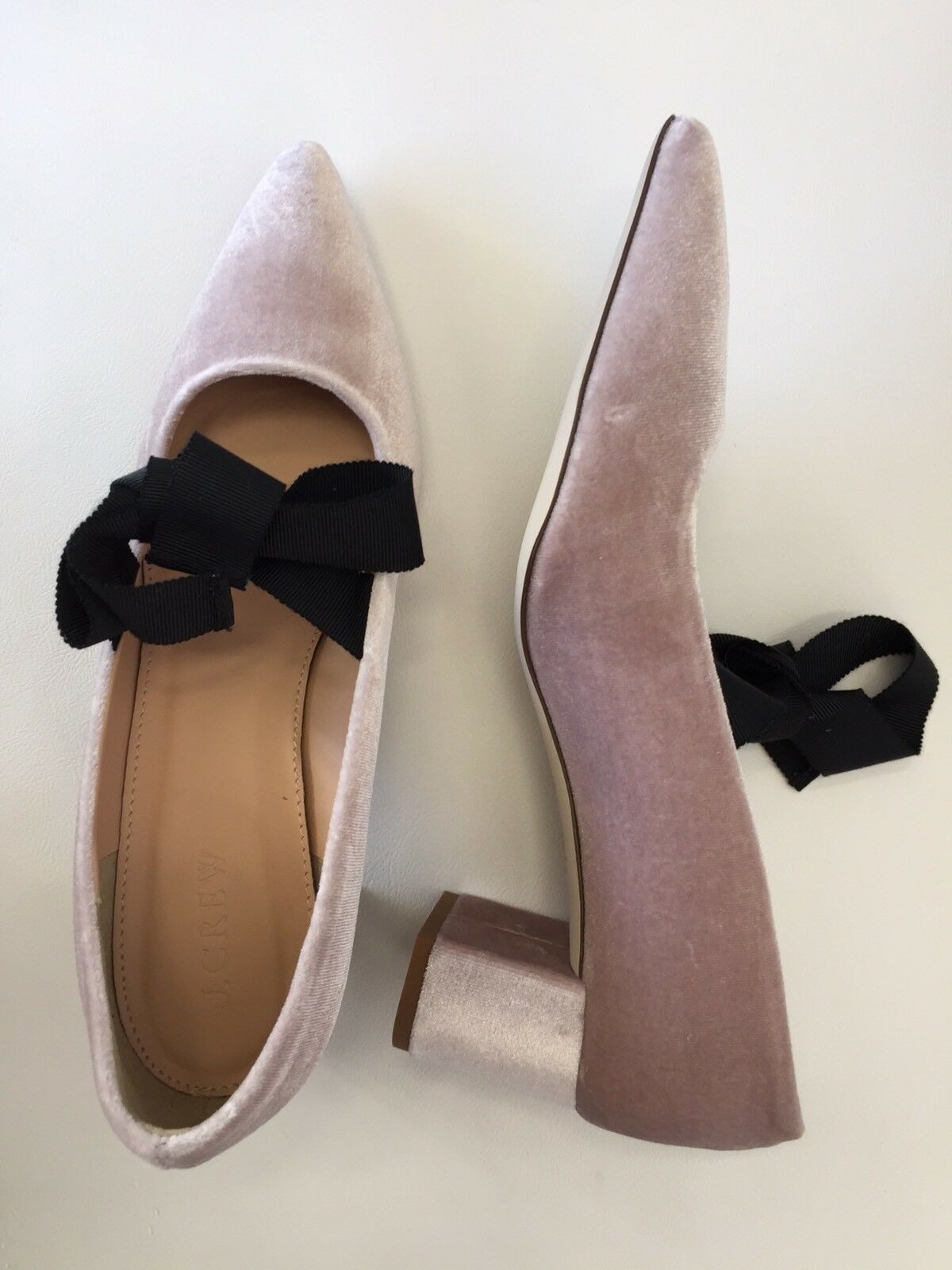 NEW J.Crew Avery Velvet Pumps with Bow Sz 7 VINTAGE QUARTZ Pink shoes H1859
