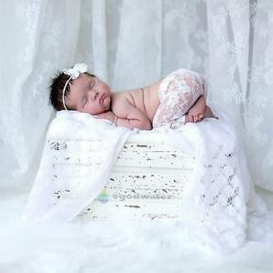 Newborn Baby Girls White Lace Rompers Bib Pants+ Headband Photography Props