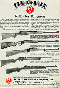 1980-Print-Ad-of-Sturm-Ruger-Models-77-Number-One-Number-3-Mini-14-amp-44-Rifle