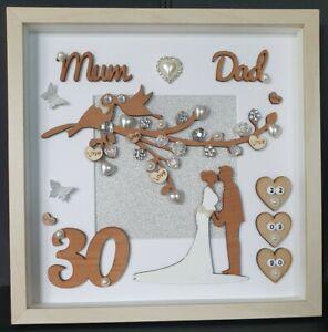 personalised handmade pearl//30th wedding anniversary wooden heart gift//present