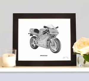 Ducati 916 Art Print Drawing Picture Mounted Xmas Present Gift For