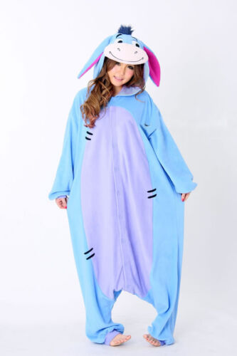 Adult Unisex Eeyore Donkey Pajamas Cosplay Costume Anime Onesi1 Dress Sleepwear//