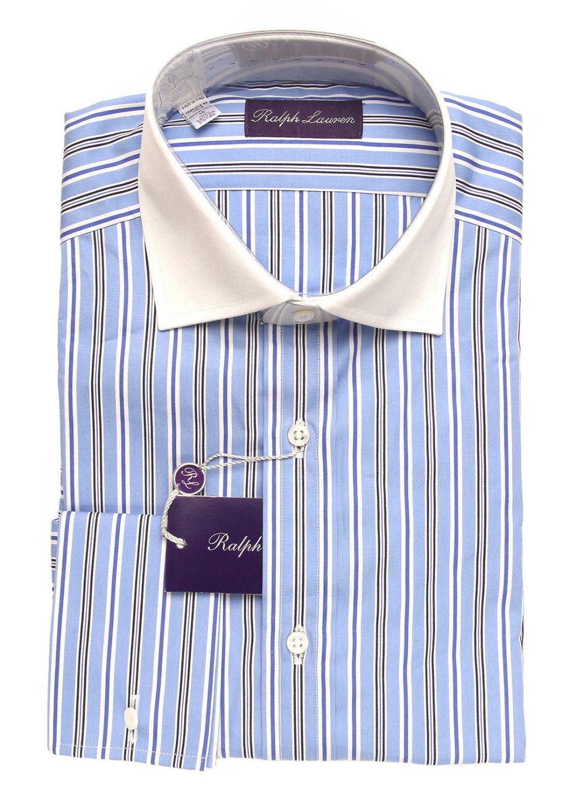 Ralph Lauren lila Label Striped French Cuff Dress Shirt 15 New 450