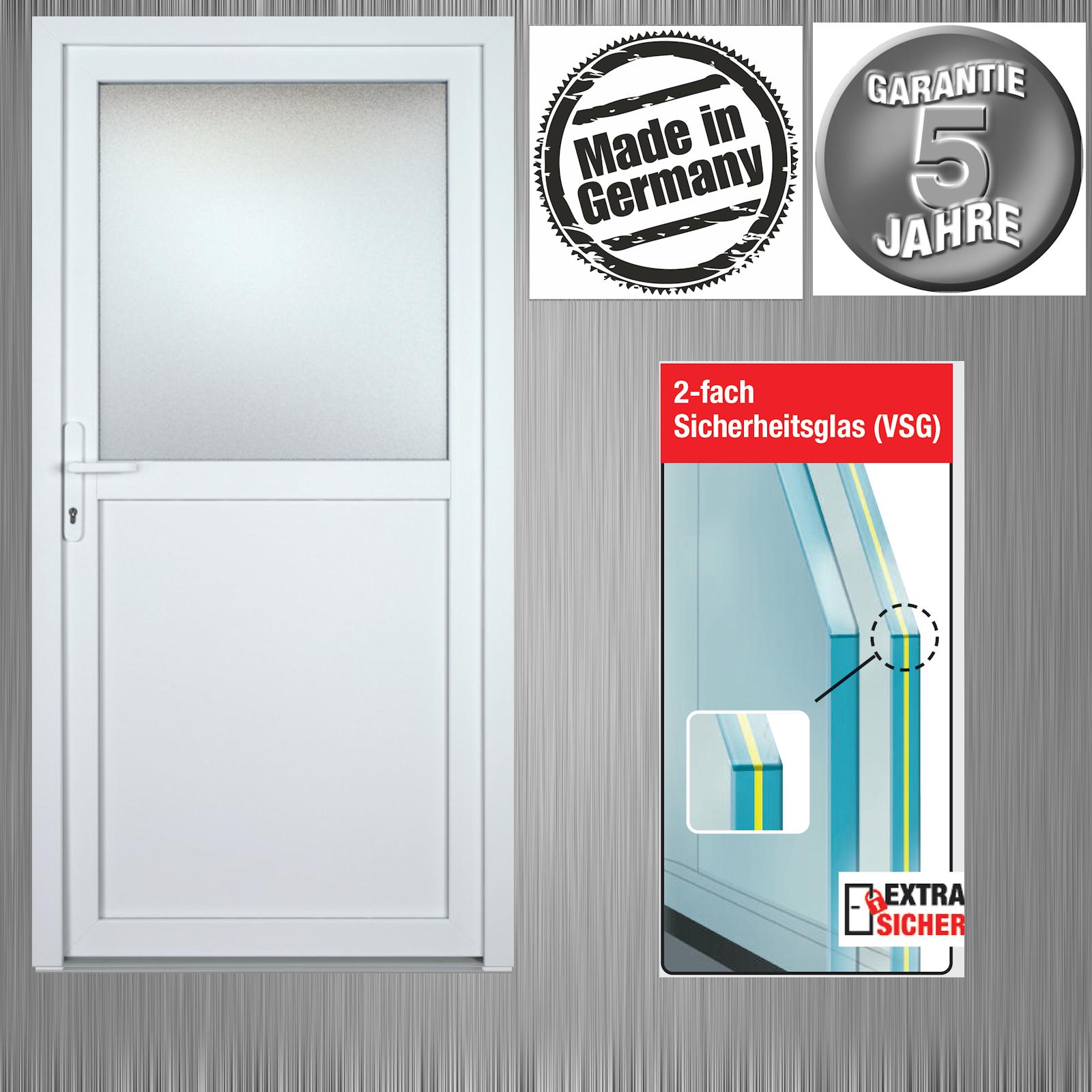 Nebeneingangstür Kellertür Garagentür Modell K602P weiß Maßanfertigung VSG Glas