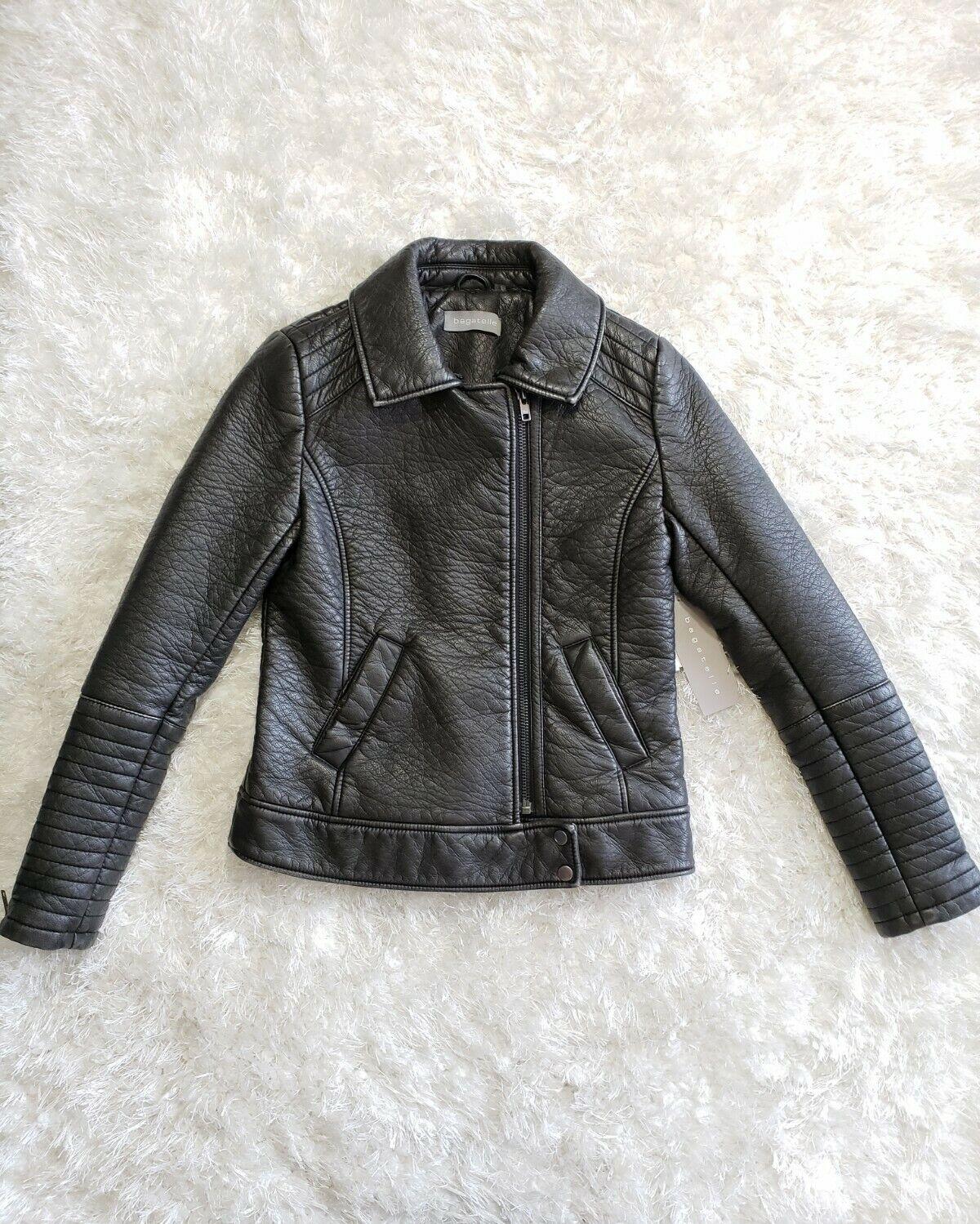 🌺NWT Bagatelle Slate Black Faux Leather Women's Moto Jacket Sz Small MSRP