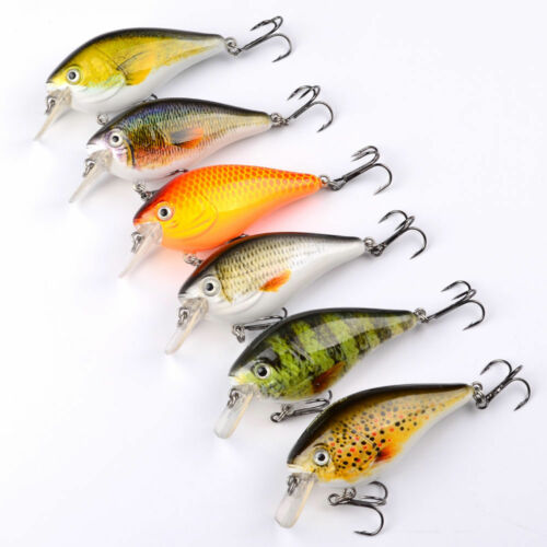 High Quality 6pcs Lot Fishing lures Exported 7.5cm//12.8g Crankbait 6# Hook Baits