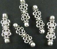 80pcs Tibetan Silver 2-Hole Flower Spacer Beads 27.5x8.5x2.5mm