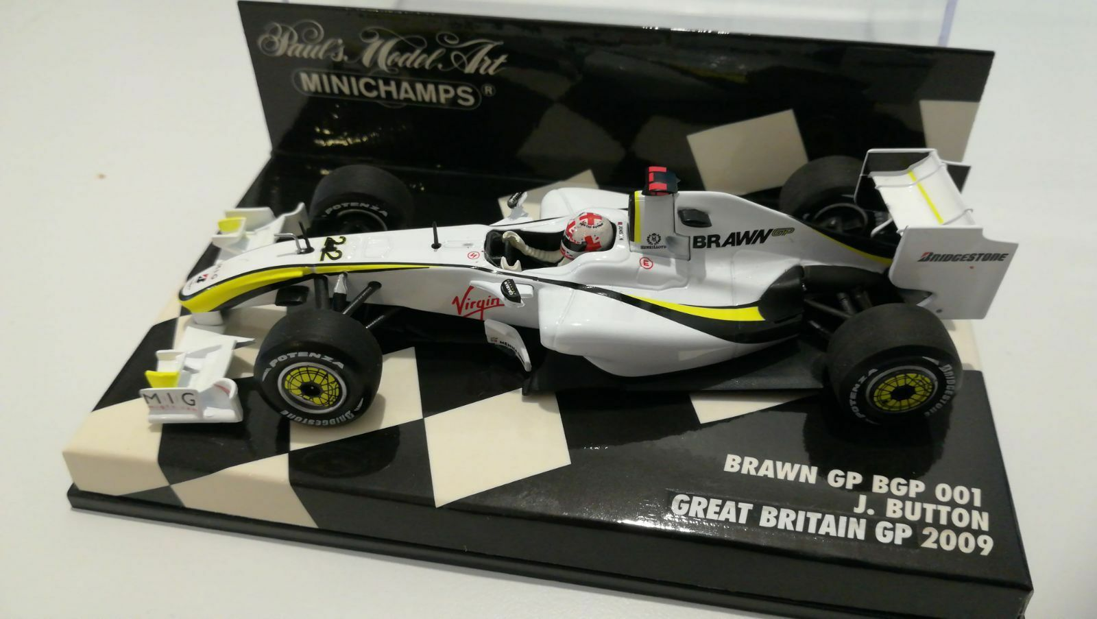 MINICHAMPS F1 1 43 BRAWN BGP001 BUTTON 2009 RARE UNION FLAG HELMET CONVERSION