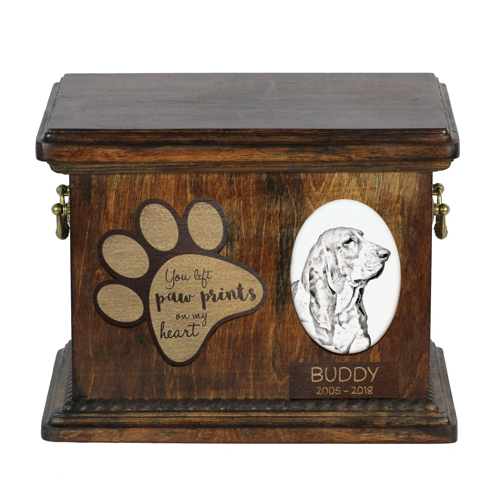 Basset Hound  Urn for dog's ashes with ceramic plate and description, Art Dog