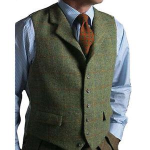 Fashion-Men-039-s-Plaid-Vests-Suit-Wool-Herringbone-Tweed-Waistcoat-Lapel-Groomsman