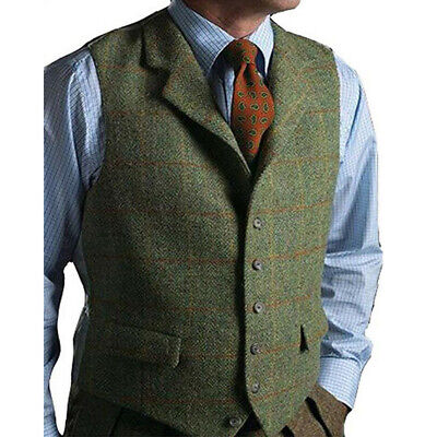 release date: complimentary shipping purchase authentic Men's Vest Tweed Wool Waistcoat Lapel Plaid Suit Vest Tuxedo Vest For  Groomsmen | eBay