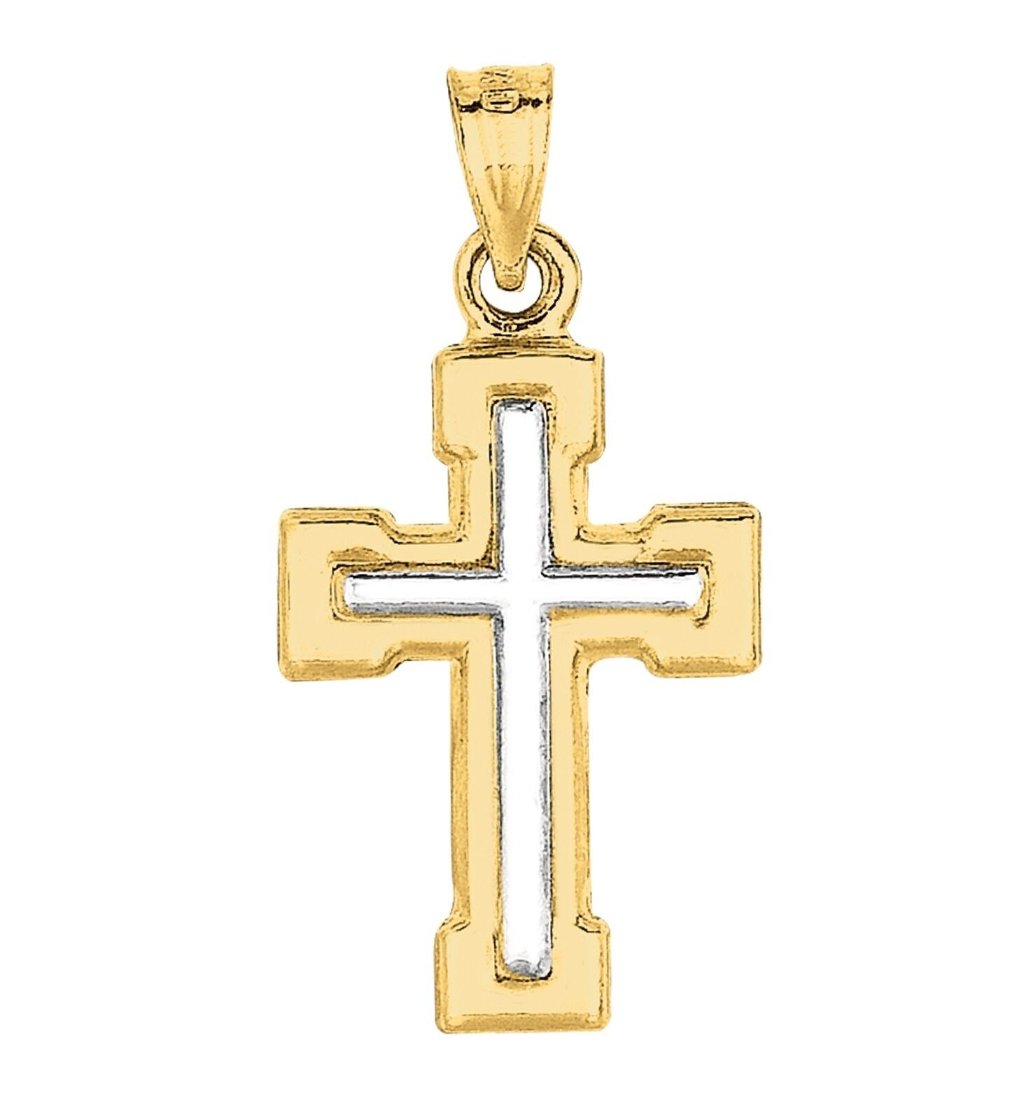 14K White gold Cross in Yellow gold Cross Varsity Font Small Cross Pendant