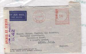 Australia-1941-History-Cover-To-London-1s-6d-Frank-Censored-X8872