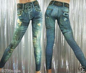 Paris-Angel-Women-039-s-Leggings-Very-Sexy-Spandex-Studs-Embellished-Denim-Inspired
