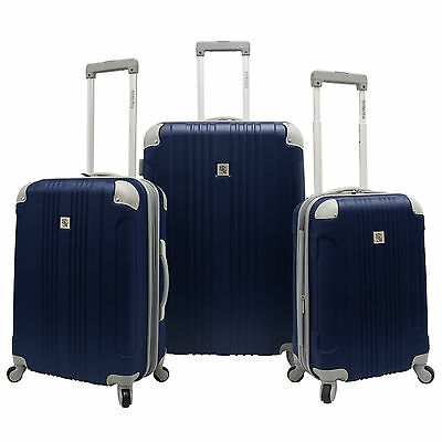 Beverly Hills Country Club 3pc Malibu Newport Navy Spinner Luggage Suitcase Set
