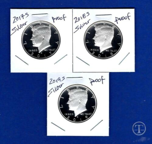 and  2019 S SILVER PROOF Kennedy Half Dollar Set-3 Coins 2018 S 2017 S